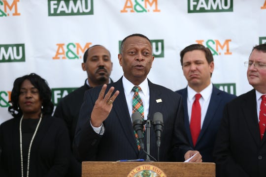 Florida A&M University Chief Financial Officer Alan Robertson speaks during a dedication ceremony for the school's new Center for Access and Student Success which is currently under construction Monday, Feb. 24, 2020.