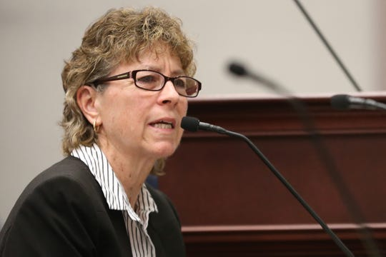 Former Florida Coalition Against Domestic Violence (FCADV) Board Chair Melody Keeth answers questions from Rep. Margaret Good during a meeting of the Florida House Public Integrity & Ethics Committee Monday, Feb. 24, 2020. Members of the FCADV board were publicly interviewed as part of an investigation into the board's alleged mismanagement.