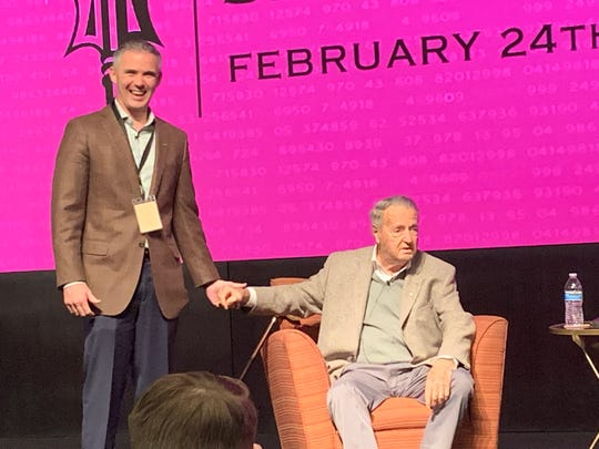 FSU football coach Mike Norvell and former football coach Bobby Bowden at the Florida State Sports Analytics Summit on Feb. 24, 2020.