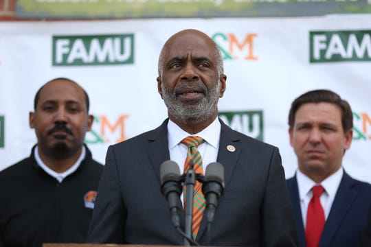 Florida A&M University President speaks during a dedication ceremony for the school's new Center for Access and Student Success which is currently under construction Monday, Feb. 24, 2020.