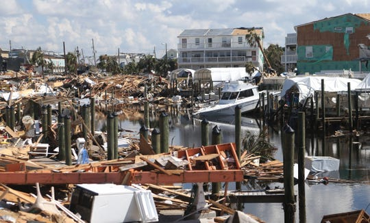 Debris from homes, tree limbs and boats were scattered throughout Mexico Beach on Oct.15, 2018. Hurricane Michael tore through the Florida Panhandle on Oct.10, 2018.