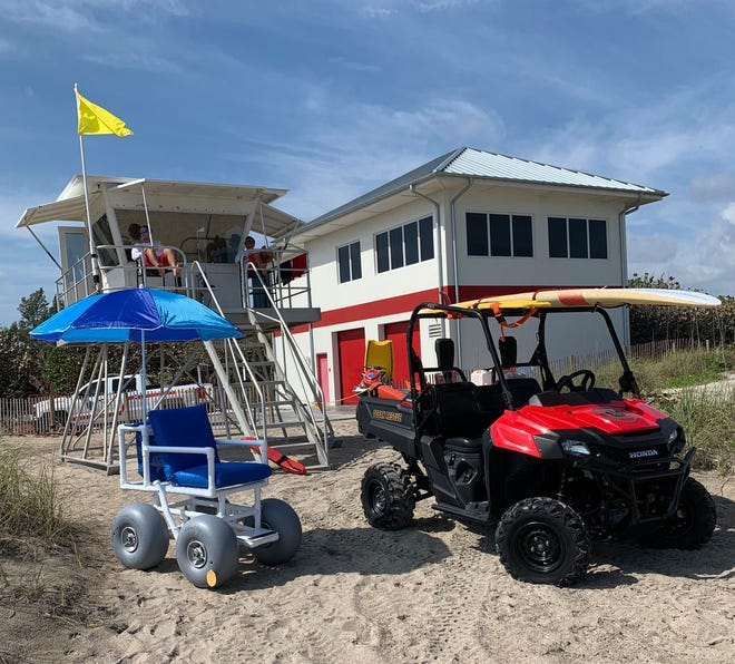 The all-terrain beach wheelchairs (left) are available at all four of Martin County's guarded beaches, Hobe Sound and Stuart beaches, Jensen Beach Park and, once it reopens, Bathtub Beach.