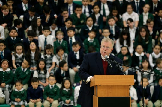 Lanny K. Hollis, the new superintendent of schools for the Catholic Diocese of El Paso, was introduced at an assembly Monday, Feb. 24, 2020, at St. Patrick School.