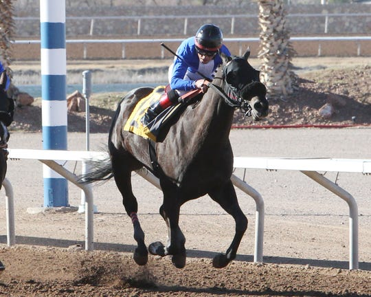 Shanghai Keely won Sunday's Island Fashion Stakes at Sunland Park Racetrack & Casino for trainer Justin Evans and jockey Jimmy Ray Coates.