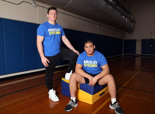 Ardsley wrestling heavyweights Billy Fon, left, and George Lebberes at the high school gym Feb. 24, 2020. The seniors will compete in the state championship.