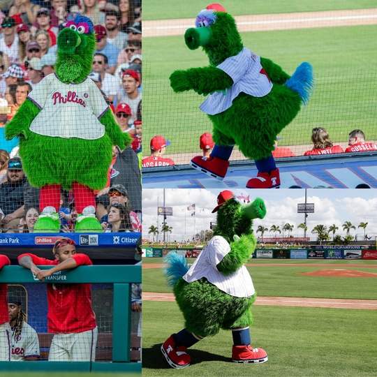 (L) The Phanatic during a game in 2019 and (R) the new-look Phanatic making his debut.