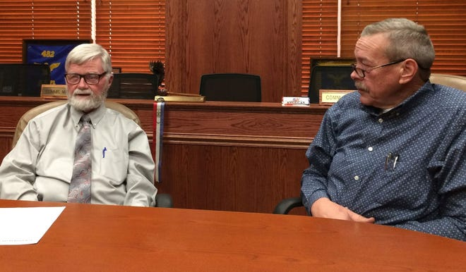 Wichita County Commissioner Woody Gossom and Precinct 4 Commissioner Jeff Watts discuss county matters unrelated to legal bills during an interview last week at the Wichita County Courthouse.