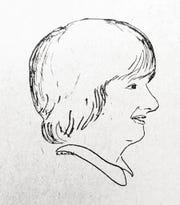 A drawing of Susan by Colleen Sutherland used in the early years of her column in the Wisconsin State Farmer.