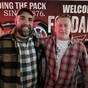 Nationally-recognized comedian Jake Iannarino, left, with Fondales Tavern II bar owner Lonnie Warne.