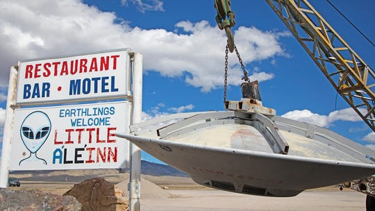 Rachel, Nevada, which has a population 54, is home to the Little A'Le'Inn, a UFO-themed restaurant and bar. It's located on Nevada State Route 375, also known as the Extraterrestrial Highway,