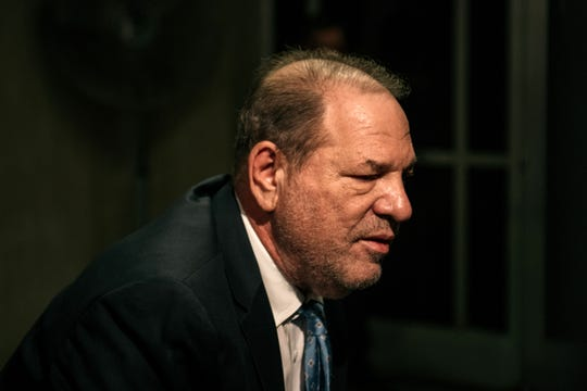 Harvey Weinstein arrives at court for the verdict in his sex-crimes trial on Feb. 24, 2020, in New York City.