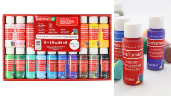 This acrylic paint set includes 16 assorted colors.