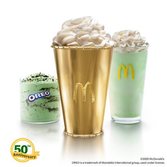 McDonald's is celebrating the golden anniversary of its Shamrock Shake with the Golden Shamrock Shake.