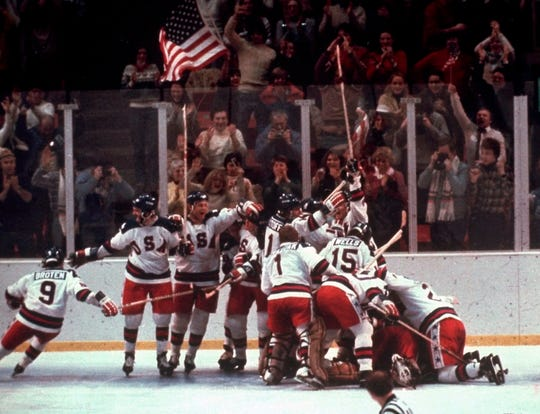 The United States celebrates after a 4-3 victory against the Soviet Union on Feb. 22, 1980.