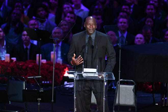 Michael Jordan was among the basketball luminaries in attendance at Monday's memorial for Kobe and Gianna Bryant.