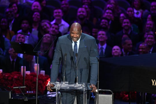 Kobe's former teammate Shaquille O'Neal speaks to the audience during the memorial.