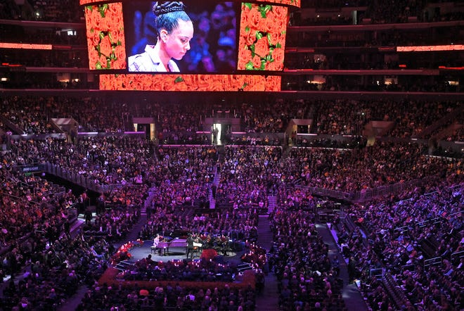 Alicia Keys performs Beethoven's Moonlight Sonata, which was a personal favorite of Kobe Bryant's during the memorial to celebrate the life of Bryant and daughter Gianna.