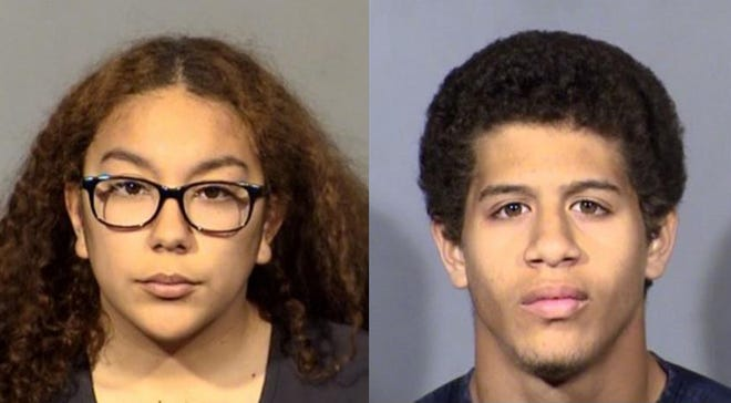The couple, Jordan Guzman and her boyfriend Anthony McCloud, 18, were arrested Thursday in Las Vegas.