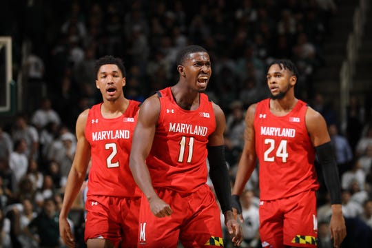 Darryl Morsell of the Maryland Terrapins reacts late in the second half of the game against the Michigan State Spartans at the Breslin Center.