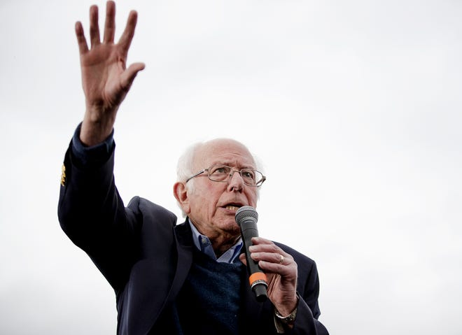 Democratic presidential candidate Sen. Bernie Sanders, I-Vt., speaks during a campaign event on Sunday, Feb. 23, 2020, in Austin, Texas. (Nick Wagner/Austin American-Statesman via AP) ORG XMIT: TXAUS110