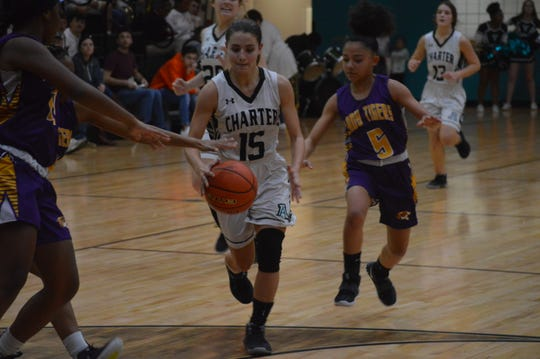 Avoyelles Charter's Jayde Callegari (15) dribbles down the lane against Independence Monday.