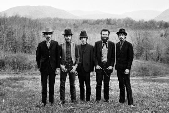 """The Band, from left: Rick Danko, Levon Helm, Richard Manuel, Garth Hudson, and Robbie Robertson, pictured in """"Once Were Brothers: Robbie Robertson and the Band,"""" a Magnolia Pictures release."""
