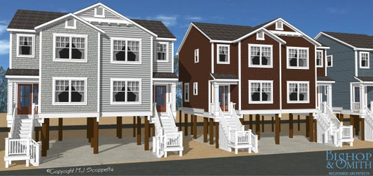 An architect's rendering shows the design of proposed duplexes which, if approved, would be built at the site of the former Camp Osborn in Brick.