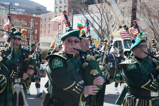 Bagpipers in Newark's St. Patrick's Day parade.