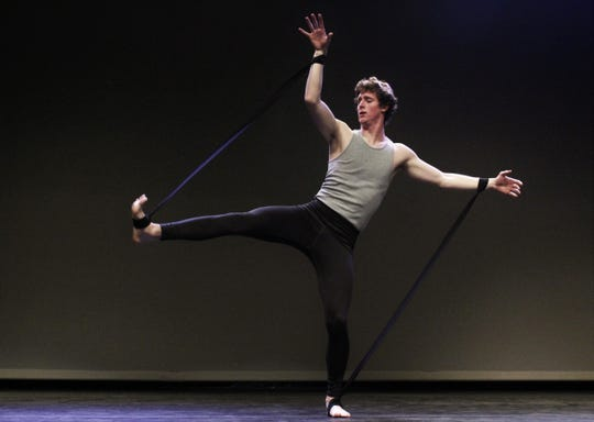 """Corban Gilliland performs """"Tethered"""" to the song """"Cringe"""" by Matt Maeson during Monday's rehearsal for the Abilene Christian University dance show """"One Night Only."""" Gilliland is a Wylie High graduate. Feb. 24 2020"""