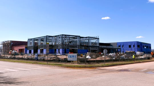 The new Austin Elementary School under construction Tuesday as seen from the corner of South 23rd Street and Elmwood Drive. The elementary school is just one of several ongoing projects for the Abilene ISD, paid for by bond funds approved by voters.