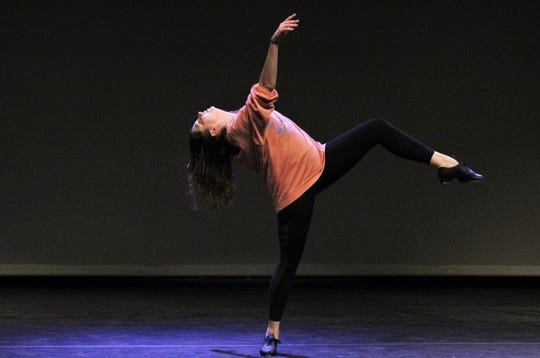"""Lily Balogh, dance instructor and artist in residence at Abilene Christian University, jumped on stage in her tap shoes to dance a contemporary piece before rehearsal Monday evening at Fulks Theatre. She is the director and choreographer for this weekend's dance show """"One Night Only,"""" and also will perform. Feb. 24 2020"""
