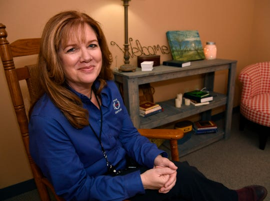 Beth Reeves sits inside the quiet room she created in the basement of the Abilene Police Department on April 26, 2018. Reeves is the chaplain for APD.