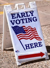 An Early Voting sign stands outside of United Supermarkets on N. Judge Ely Blvd Tuesday Feb. 25, 2020.
