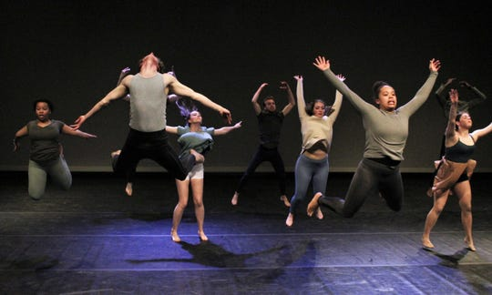 """Dancers catch some air during rehearsal Monday for this weekend's two performances of """"One Night Only"""" at Fulks Theatre on the Abilene Christian University campus. Feb. 24 2020"""