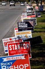 Campaign signs are on display Tuesday along N. Judge Ely Blvd. Feb. 25, 2020.
