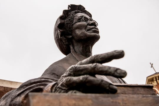 The Sojourner Truth statue is pictured on Tuesday, Feb. 25, 2020 in downtown Battle Creek, Mich. Battle Creek scholars and artists are working to retell a more accurate version of Sojourner Truth's story.