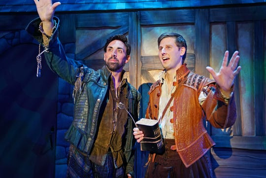 """Jordyn Linkous as """"Nick Bottom"""" and Greg Coleman as """"Nigel Bottom."""" """"Something Rotten"""" will be on stage at Titusville Playhouse through March 22, 2020. Visit titusvilleplayhouse.com."""