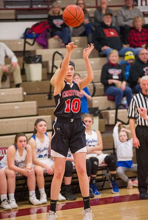 Crestview's Kylie Ringler was a perfect 5-for-5 from 3-point range in a 50-33 win over Perkins where she scored a team-high 15 points.