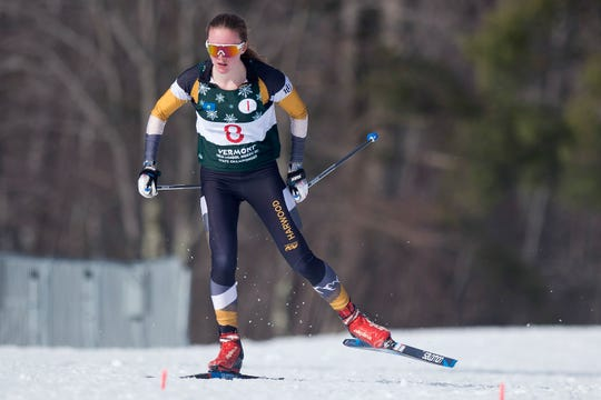 Harwood's Ava Thurston competes in the girls freestyle relay during the high school Nordic skiing state championships at Camp Ethan Allen in Jericho on Monday, Feb. 24, 2020.