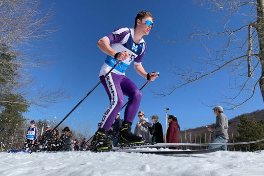 Brattleboro's Declyn Tourville starts the boys FK freestyle during the high school Nordic skiing state championships  at Camp Ethan Allen in Jericho on Monday, Feb. 24, 2020.