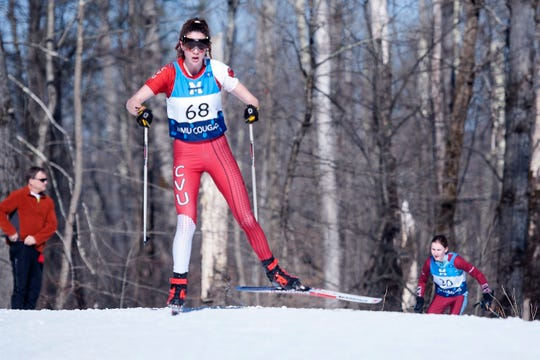 Champlain Valley's Finnegan Mittelstadt rounds the last corner in the 5K freestyle during the high school Nordic skiing state championships at Camp Ethan Allen in Jericho on Monday, Feb. 24, 2020.