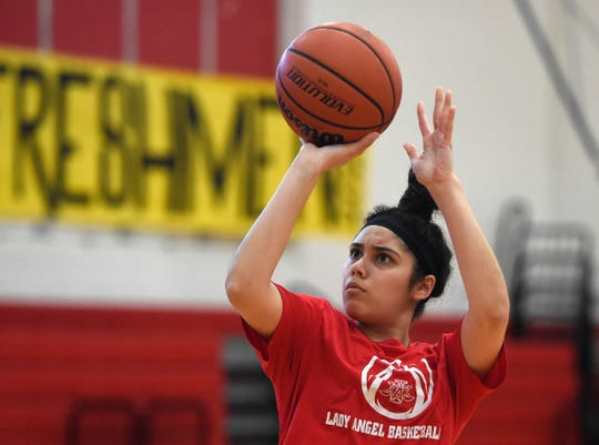 Incarnate Word Academy's Bella Ysassi basketball team practices, Tuesday, Feb. 25, 2020. The team is preparing for the state tournament.
