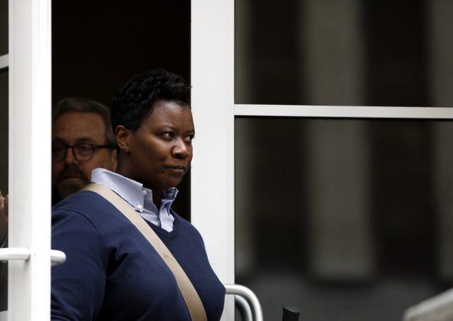 Tamaya Dennard leaves federal courthouse in Cincinnati on Feb. 25, 2020.