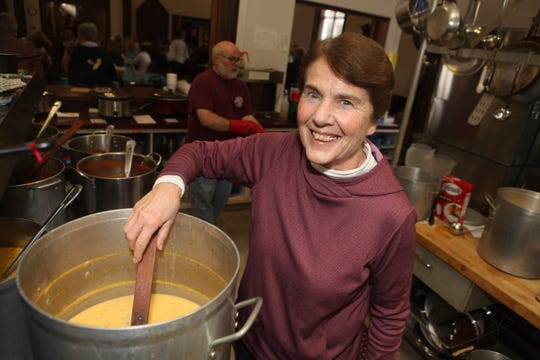 Jan Hodgson helps prepare soup at Trinity Episcopal Church, one of the lunch sites for Empty Bowls, on Tuesday, Feb. 25, 2020.