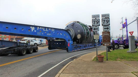 """A """"superload"""" moves through Dover on Tuesday, Feb. 25, 2020.."""