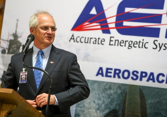 AES President John Sonday stands and speaks at the podium during a visit by Tennessee Gov. Bill Lee at Accurate Energetic Systems in McEwen, Tenn., on Monday.
