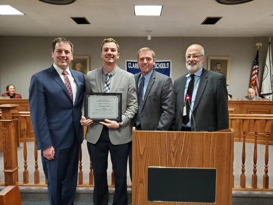 Superintendent Edward Grande, Bryan Lowe, Board of Education President Steve Donkersloot, and Valley Road Principal Joe Beltramba