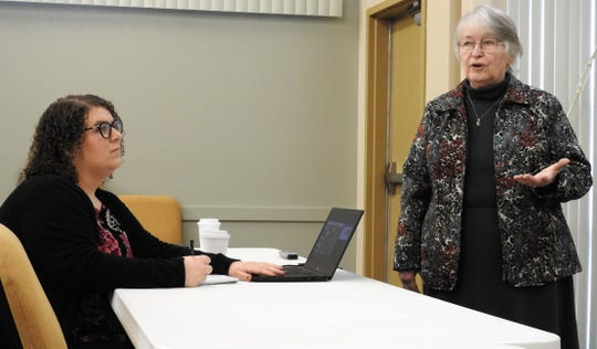 Nicole Ditto and Gail Barber from Children and Family Futures spoke during a meeting reviewing Coshocton County's participation in a pilot program for Collaborative Community Court Teams from the National Quality Improvement Center.