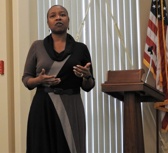 Leondra Davis, local Quality Improvement coordinator, speaks on the Collaborative Community Court Teams program during a recent meeting at the Frontier Power Meeting Room. Coshocton is in the third year of the pilot program from the National Quality Improvement Center.
