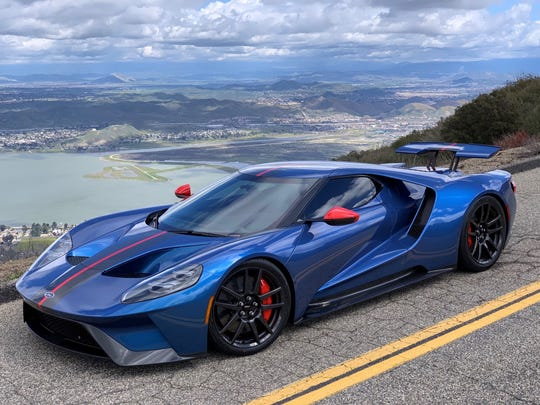 Karl Brauer, executive publisher of Kelley Blue Book, says he can't understand why people don't buy vehicles in colors other than black, white and gray. This is his 2019 Ford GT, taken in Lake Elsinore, California on March 8, 2019.